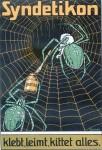 Selbst die Spinne klebt ihr Netz mit Syndetikon: Kartonplakat von Zander (1901)