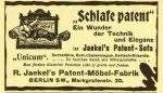 Schlafe patent: Anzeige (ca. 1908)