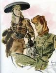 """Grimm-Modegrafik aus """"Der Silberspiegel"""" (April 1942"""