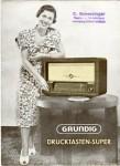 Werbezettel für den Grundig Drucktastensuper von 1952
